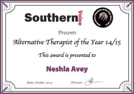 Neshla Avey southern voice alternative therapist of the year award 2014-2015